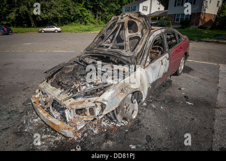 Burnt Car After Car Fire - Stock Photo