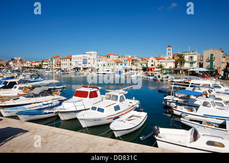 Vodice harbor in Croatia - Stock Photo