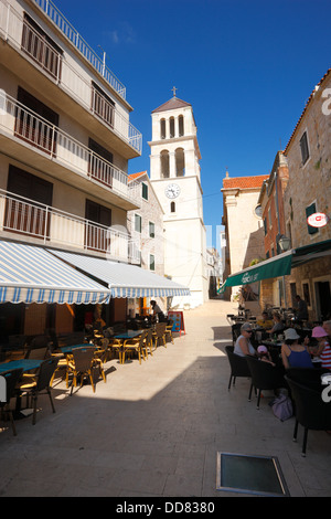 Church tower in Vodice town, Croatia - Stock Photo