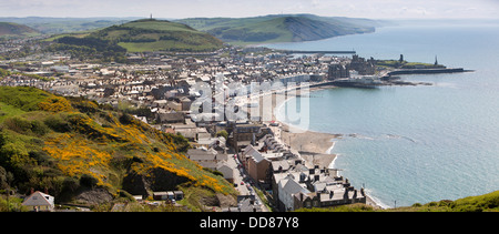 UK, Wales, Ceredigion, Aberystwyth, elevated panoramic view of town from Constitution Hill