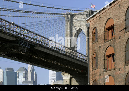 USA New York City Brooklyn Bridge - Stock Photo