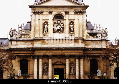Facade of the Church of the Sorbonne University. Paris. France - Stock Photo