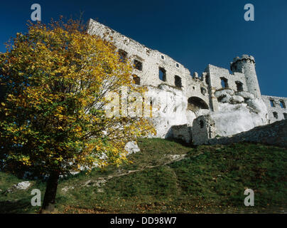 A whole chain of fortifications on the old southern border of Poland (XIV century) One of them is Ogrodzieniec. - Stock Photo