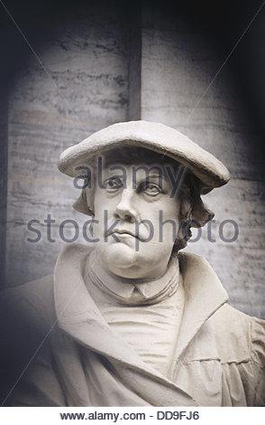 Statue of Martin Luther (1483-1546), German reformer, next to Marmorkirken (´Marble Church´). Copenhagen. Denmark - Stock Photo