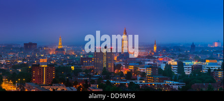 Groningen town during blue hour, after sunset on a summer evening with the view to downtown taken from the Tasman - Stock Photo