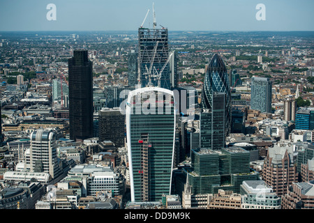 Views from the platform at the top of the Shard, London Bridge, London, UK - Stock Photo