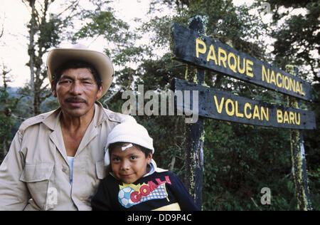 Park Ranger and son. Volcan Baru National Park. Chiriqui highlands Province. Panama - Stock Photo