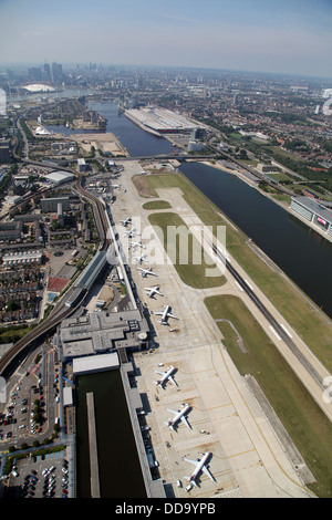 aerial view of London City Airport, London E16 - Stock Photo