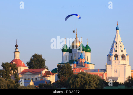A paramotor flying over the Kremlin in Kolomna, Russia - Stock Photo