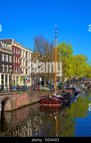 Boats on Brouwersgracht, Amsterdam, Netherlands, Europe. - Stock Photo