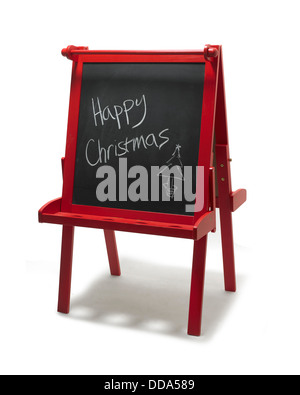 Chalkboard with 'Happy Christmas' written on, cut out on white background - Stock Photo
