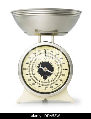 Kitchen scales, cut out on white background - Stock Photo