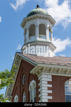 This is a typical small town church in New England. - Stock Photo