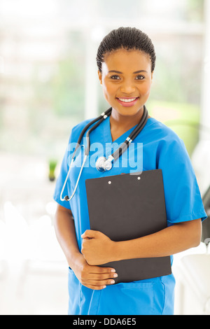 beautiful female African American medical professional in office - Stock Photo