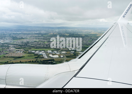 View from a ryanair airbus 320 coming in to land at Dublin airport, Ireland. - Stock Photo