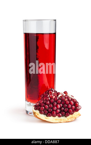 pomegranate juice glass section on white background - Stock Photo