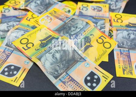Australian $50 notes - Stock Photo