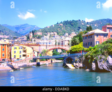 View of the Blue Bridge and colorful buildings in Nervi on the Golfo Di Genova, Liguria, Italy - Stock Photo