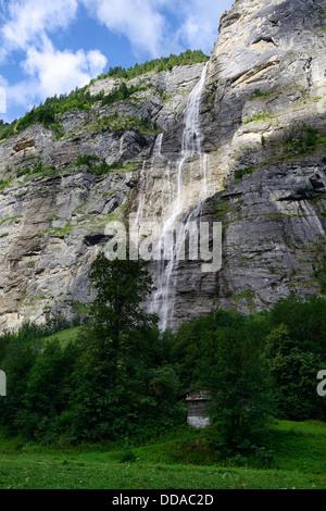 Murrenbach Falls, Lauterbrunnen, Bernese Oberland, Switzerland, Europe - Stock Photo
