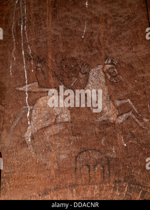 Bet Abba Libanos church in Lalibela - painted St George and dragon - Stock Photo