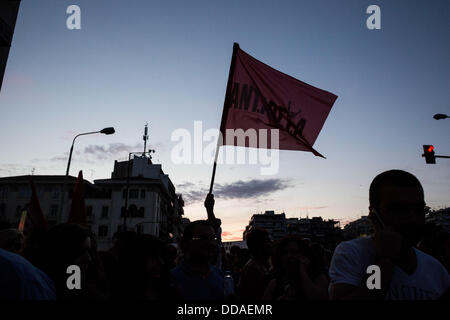 Thessaloniki, Greece. 29th Aug, 2013. Protest march from Primary Private and Public Unions of Thessaloniki with - Stock Photo