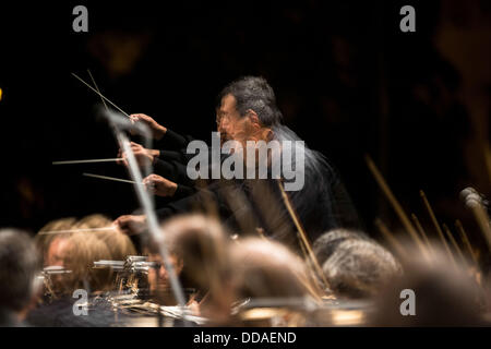 Thessaloniki, Greece. 29th Aug, 2013. Vladimiros Simeonidis conduct State Symphony Orchestra of Thessaloniki at - Stock Photo