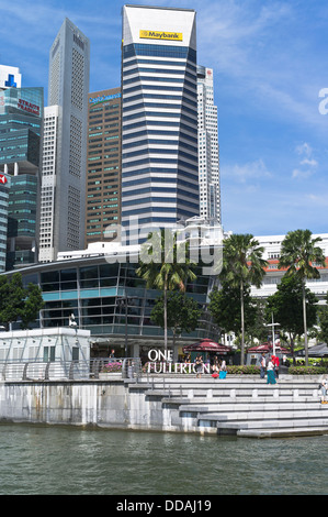 dh Marine Bay DOWNTOWN CORE SINGAPORE One Fullerton Maybank Tower modern skyscrapers city skyline - Stock Photo