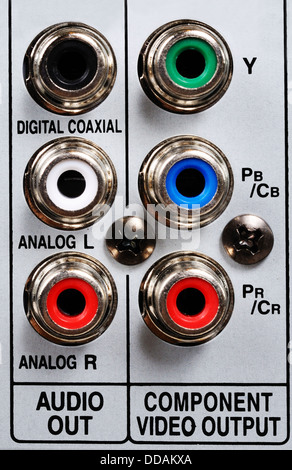 RCA/phono sockets on rear of video/HDD appliance. - Stock Photo