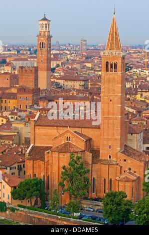 Verona, Santa Anastasia church and Torre de Lamberti, Veneto, Italy - Stock Photo