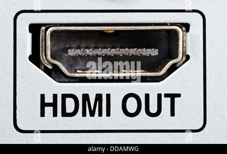 HDMI out socket on HDD/AV appliance. - Stock Photo