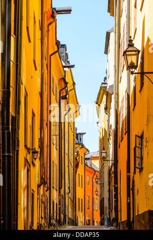 Street in Gamla Stan (Old Town) Stockholm Sweden - Stock Photo