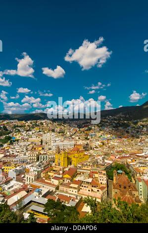 Overview of the colorful city of Guanajuato from Pipila Monument, Mexico - Stock Photo