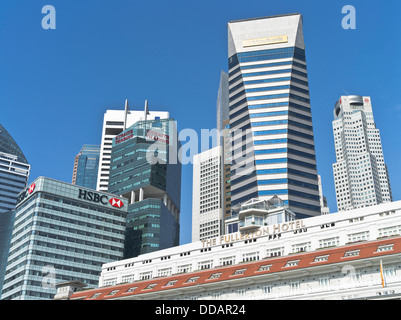 dh  DOWNTOWN CORE SINGAPORE The Fullerton Hotel Maybank Tower city skyscraper skyline - Stock Photo