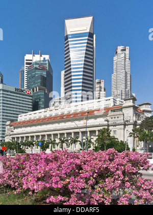 dh  DOWNTOWN CORE SINGAPORE The Fullerton Hotel flowers Maybank Tower city skyscraper skyline - Stock Photo