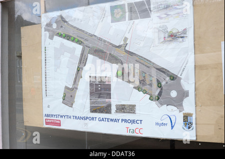 Plans on display for new public transport development, Aberystwyth, Wales, UK - Stock Photo