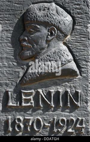 Detail of Lenin from a statue in Szoborpark, Statue Park at Balatoni ut, Budapest, Hungary. - Stock Photo