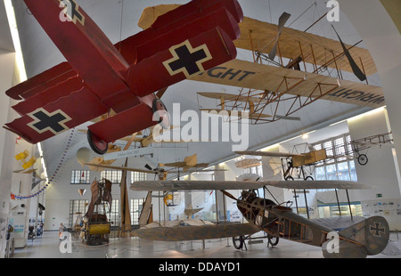 Deutsches Museum, Munich, Bavaria, Germany, Planes up to 1918 (Old Aeronautics Hall) - Stock Photo