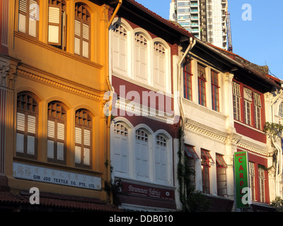 Colonial buildings on Arab Street in Singapore - Stock Photo