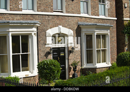 Double bay fronted Victorian house in the city of York North Yorkshire England UK - Stock Photo