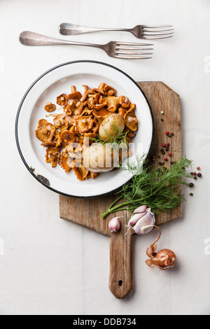 Boiled potatoes with roasted wild mushrooms - Stock Photo