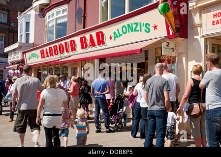 Harbour Bar in summer Scarborough North Yorkshire England UK United Kingdom GB Great Britain - Stock Photo