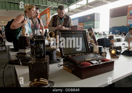 Berlin, Germany, steam punk designer at Campus Party Europe in Berlin - Stock Photo