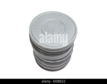 Vintage movie film cans isolated with clipping path. - Stock Photo