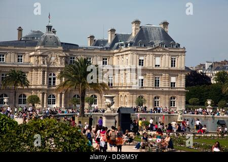 The Jardin du Luxembourg and Palais du Luxembourg in Paris, France - Stock Photo