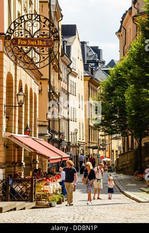 Street in Gamla Stan (Old Town) Stockholm Sweden - Stock Photo