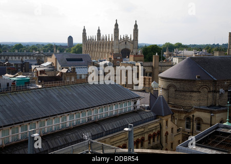 View over rooftops central Cambridge England looking towards King's College chapel - Stock Photo