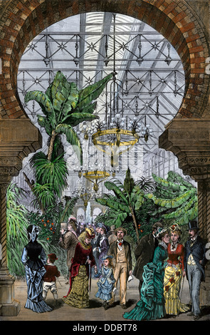 Horticultural Hall on the opening day of the Centennial Exposition in Philadelphia, May 10, 1876. Hand-colored woodcut - Stock Photo