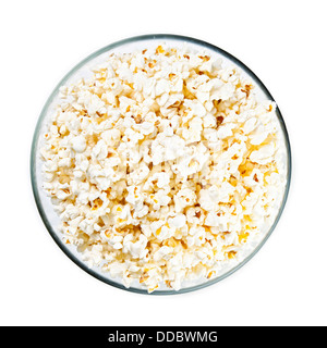 Glass bowl with popcorn on white background - Stock Photo