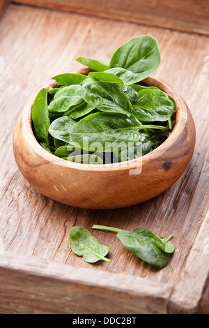 Young spinach in wooden bowl - Stock Photo