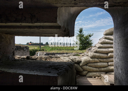 View from First World War One bunker at the Dodengang / Boyau de la Mort / Trench of Death, Diksmuide, West Flanders, - Stock Photo